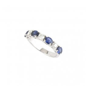 18k White Gold Diamond & Sapphire Half Eternity Ring